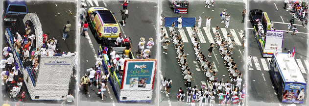 Puerto Rican Day Parade floats and bands